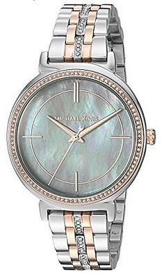 ad18d9a00be4 Michael Kors Cinthia Women s Quartz Crystal-Set Two-Tone Stainless Steel  Watch