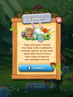 Forest Home | Facebook Connect| UI, HUD, User Interface, Game Art, GUI, iOS, Apps, Games, Grahic Desgin, Puzzle Game, Maze Games, Brain Games | www.girlvsgui.com