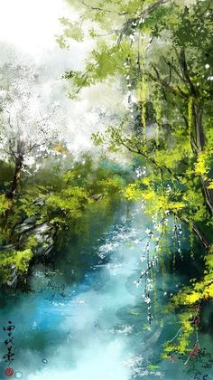 60 Excellent but Simple Acrylic Painting Ideas For Beginners Fantasy Art Landscapes, Fantasy Landscape, Landscape Art, Beautiful Landscapes, Landscape Paintings, Landscape Photography, Watercolor Trees, Watercolor Landscape, Watercolor Artists