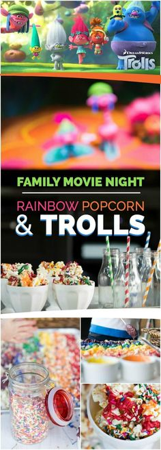 Family Movie Night: Rainbow Popcorn & TROLLS! #bringhomehappy #dreamworkstrolls #ad