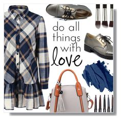 """Plaid Flounced Shirt"" by fashion-pol ❤ liked on Polyvore featuring Bobbi Brown Cosmetics"