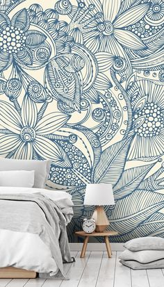 Flowers and Doodles Blue Wall Mural | Wallsauce UK
