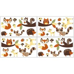 Wall decal stickers allow you to change the look of any room without the need for paint or nails. This four-piece set is adorned with cute, lovable animals, making it ideal for a child's room or play area. Each decal is repositionable.