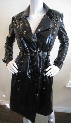 True Blood Original TV Wardrobe Lip Service PVC Trench Coat Black Women's S $185