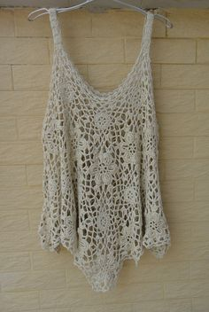 Crochet Tops Womens Tunics Plus Size Loose by Tinacrochetstudio