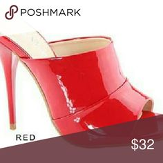 """Red Patent High Heel Slide Mule Stiletto OpenToe New Red Patent High Heel Slide Mule Stiletto OpenToe Womens Shoes Dress Sandals.  Item Description  Super Sexy Patent High Heel Mule Slide.  Featuring a 4.5"""" High Heel Stiletto Pleated Vamp and Single Sole Construction.  Slides are your best friend!  With these Slides Mules you can wear them with any outfit.  Product Info  Brand: Bella Marie Style: Bebe-1 Color: Red Patent Leatherette Heel Hight: Aprox 4.5 Inches - Single Sole Sizes: 6, 6.5…"""