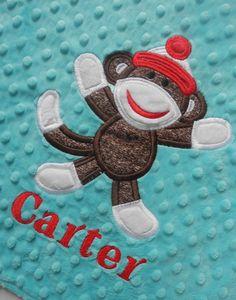 Personalized Sock Monkey Tag Baby Minky Blanket, Sensory Ribbons on Etsy, $19.99