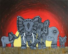 painting elephant family abstract art yellow orange gray by Nicole Metzger by NicoleMetzgerPaints on Etsy https://www.etsy.com/listing/177709374/painting-elephant-family-abstract-art