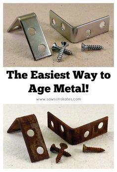 The Easiest Way to Age Metal EVER! Have you ever wondered how to age metal? We can get that look at home and it doesn't require much time at all. The best part is you probably already have all the supplies on hand to do it. Hands down, this is the easiest Woodworking Projects Diy, Metal Crafts, Diy Wood Projects, Diy Projects To Try, Wood Crafts, Woodworking Plans, Project Ideas, Popular Woodworking, Woodworking Equipment