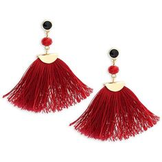 Shashi Melanie Gold, Beaded & Tassel Drop Earrings ($35) ❤ liked on Polyvore featuring jewelry, earrings, tassle earrings, tassel drop earrings, yellow gold drop earrings, burgundy earrings and tassel jewelry