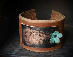 Mixed Metal and Leather Cuff Bracelet by CoccoJewelry on Etsy