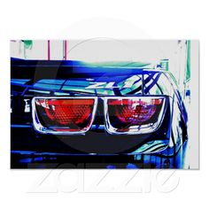 Poster of a Black Chevrolet Camaro ZL1 Tail Lights with Decal from Zazzle.com....100% money back guarantee....available nowhere else.
