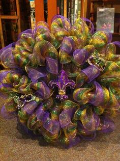 mardi gras deco mesh wreath with purple fleur de lis