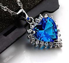 Elegant Heart Blue Crystal Pendant Necklace