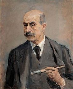 Max Liebermann (German: 1847 - 1935) - Self-Portrait with Brush (1913)