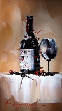 """*Painting - """"Wine"""" by Kal Gajoum Wine Painting, Figure Painting, Cafe Art, Virtual Art, Contemporary Paintings, Painting Inspiration, Art Photography, Landscape Photography, Wedding Photography"""