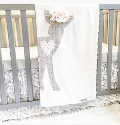 Fawn Baby Blanket Girl Boho Nursery Quilt by SleepingLakeDesigns
