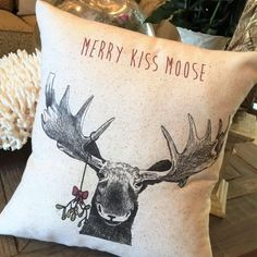 Moose Christmas Pillow, 12x12 or 12 x 18, rustic, Merry Kiss Moose, mistletoe, farmhouse, vintage by JoellesCorner on Etsy https://www.etsy.com/listing/256089574/moose-christmas-pillow-12x12-or-12-x-18