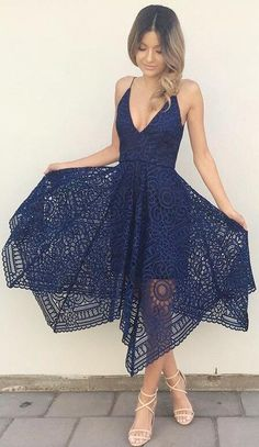 v neck short navy blue lace homecoming dress, 2018 short homecoming dress, party dress