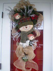 swags wreaths christmas | Christmas Holiday Winter Snowman Teardrop Swag Burlap Door Wreath ...