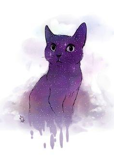 кошка, космос, cat, space, art, рисунок, Принцесса Надя
