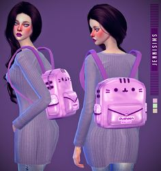 Cute cat face backpack for The Sims 4