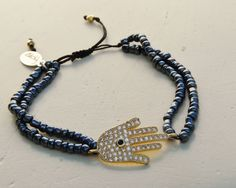Gold Hamsa Hand Charm Bracelet with Navy beads by NokoDesigns