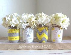 Yellow and Gray Mason Jar Centerpieces, Baby Shower Mason Jars, Mason Jar Decor… Mason Jar Crafts, Mason Jar Diy, Grey And Yellow Living Room, Living Room Decor Yellow, Yellow Gray Bedroom, Yellow Bathroom Decor, Bathroom Ideas, Mason Jar Bathroom, Baby Shower Yellow