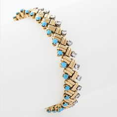 A French Mid-Century 18-karat gold bracelet with turquoise and diamonds by Van Cleef & Arpels, circa 1953. (=)