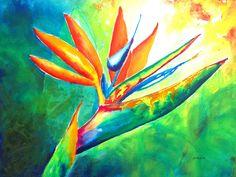 Bird Of Paradise Flower - Intense Watercolor Painting by Carlin Blahnik