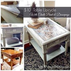 A $10 table upcycled with Annie Sloan Chalk Paint and Mod Podge.