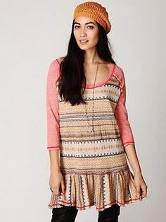 Free People Fairisle Babydoll Top at Free People Clothing Boutique - StyleSays