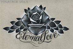 #Tattoo #tattoos #tattooartist #tattoodesign #design #drawing #pencil #prismacolor #prisma #rose #rosetattoo #rosedesign #eternallove #eternal #love #script #flowers #queensland #surfersparadise #goldcoast #minataurtattoo #minataur