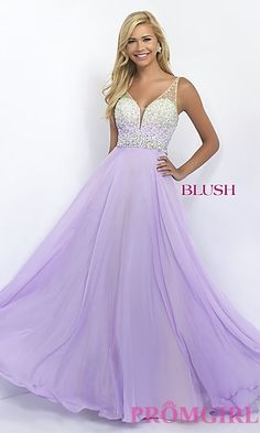 Beaded Sweetheart V-Neck Long Blush Prom Dress at PromGirl.com