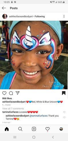 Face Painting For Boys, Face Painting Designs, Boy Face, Unicorn Face, Face Paintings, Paint Ideas, Unicorns, 4th Of July, Balloons