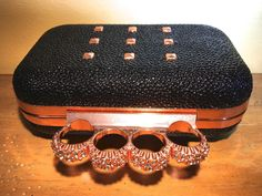 Studded Pebble Duster 4 Ring Rhinestone Knuckle Clutch Purse Rose Gold Metal~R~ #R #KnuckleClutch