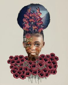 Digitally Altered Portraits Superimposed with Flowers, Antique Patterns, and Wildlife Illustrations by Tawny Chatmon | Colossal Art Photography Portrait, Digital Art Photography, Pattern Photography, Fashion Photography, Comic Makeup, Graphite Art, Concept Art Tutorial, Digital Art Anime, African American Artist