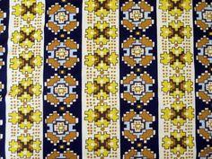 Fabric Vintage Loomskill Polyester Mid Century Modern 1960's Aztec Gold Yellow #Loomskill