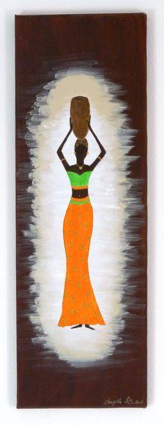 Femme africaine, robe orange et verte sur fond marron : Peintures par kikry-art