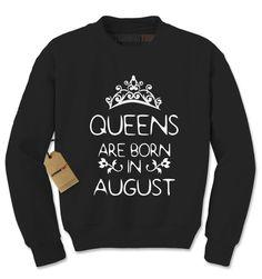 Queens Are Born In August Adult Crewneck Sweatshirt