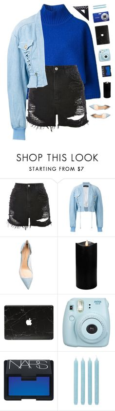 """Blue"" by genesis129 ❤ liked on Polyvore featuring Fivestory, Topshop, Balmain, Gianvito Rossi, Boston Warehouse, Fujifilm, NARS Cosmetics, Pier 1 Imports, Design Letters and vintage"
