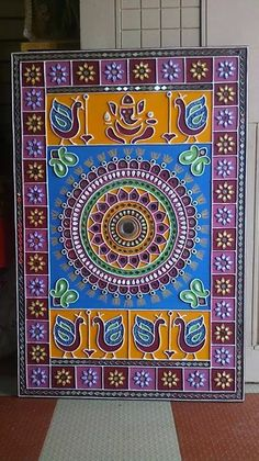 Discover thousands of images about Art Mud & mirror work Art Works, Indian Art Paintings, 3d Relief Art, Mirror Art, Madhubani Art, Mural Art, Art, Lipan, Folk Art Painting