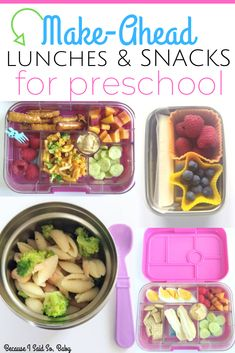 Easy Make-Ahead Preschool Lunchbox Ideas These lunch ideas are perfect for toddlers preschoolers daycare and on-the-go Filled with simple lunchbox packing tips easy Bento Box ideas for your Yumbox or other Bento plus snack ideas recipes and Toddler Lunch Box, Toddler Lunches, Toddler Dinners, Toddler Food, Toddler Lunchbox Ideas, Toddler Games, Cold Lunches, Lunch Snacks, Daycare Meals