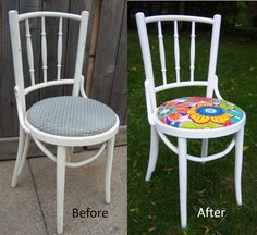 Bistro chair stripped & repainted with a new fabric…