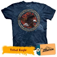 The Mountain Tribal Eagle Short Sleeve Adult Tee T-shirt Cool Tees, Branded T Shirts, Fashion Brands, Eagle, My Style, Mens Tops, Cotton, Mountain, Sleeve