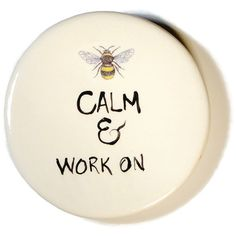 Bee Calm and Work On Handmade Ceramic Dish for Rings or Spoon Rest