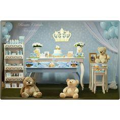 Chá de bebê Príncipe Coroa e ursinhos azul bebê. ..