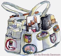 Tips for sketching outdoors. Image: Sketch-bag by Brenda Swenson.