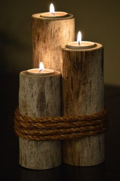 Wooden Crafts, Diy Wood Projects, Wooden Diy, Driftwood Candle Holders, Deco Champetre, Rustic Candles, Diy Candles, Wood Creations, Diy Home Crafts