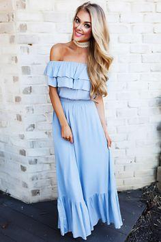 Light Blue Off The Shoulder Maxi Dress - Dottie Couture Boutique